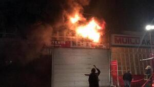 Zonguldakta tente imalatı yapan iş yerinde yangın