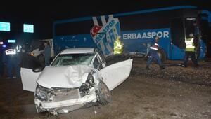 Erbaasporun otobüsü, takımı havalimanına bıraktıktan sonra kaza yaptı: 1 ölü, 3 yaralı