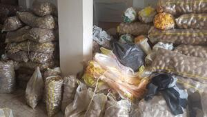 Bursada stokçu baskınında, 35 ton patates istiflendiği belirlendi