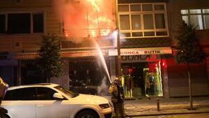 Güngörende 4 katlı bina alev alev yandı