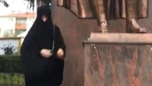 Çorluda Atatürk Anıtına baltayla saldıran kadın, tedaviye alındı