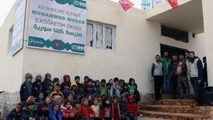İdlibin Kemmune kampında 300 öğrenci kapasiteli okul eğitime açıldı