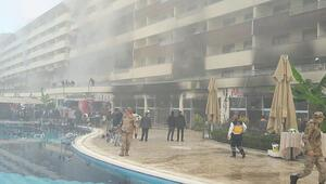 Termal otelde yangın çıktı... İtfaiye aracı çamura saplandı