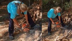 Testereyle odun kesen taçlı güzel: Azla yetinmek lazım, artık hayat böyle