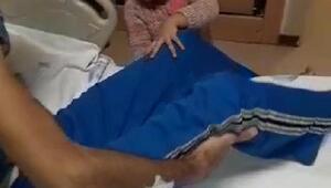 Yüz nakilli Recep Sertin hastanedeki yardımcısı minik kızı Hira