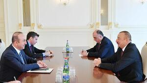 Mevlüt Çavuşoğlu, Azerbaycan Cumhurbaşkanı Aliyev ile görüştü