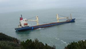Şilede kıyıya oturan gemi kurtarılmayı bekliyor