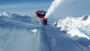 Başkalede kardan kapanan yollar için yoğun çalışma