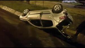 Arkadan çarptığı otomobil takla atarak su kanalına düştü: 7 yaralı