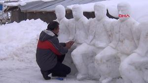 Heykeltıraş, zorlu kış şartlarına ayak uydurursa...