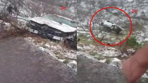 Otomobil kurtarılırken halat kopunca uçuruma yuvarlandı