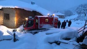 Hastaya Snowtrack ambulans ile ulaştılar