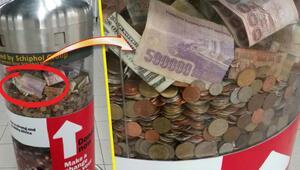 Yardım ünitesine 500000 TL'lik banknot bıraktı