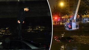 Otomobilin üstüne çıkıp canını kurtardı Arkadaşı arkasına bakmadan kaçtı...