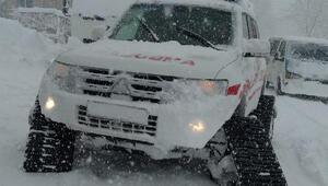 Kayseride diyaliz hastaları paletli ambulansla hastaneye götürüldü