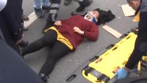 Son dakika.. Basın Ekspres yolunda dehşet Genç kadın giden araçtan kendini attı...