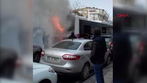 Fatihte halk otobüsü yandı