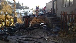 Artvinde 2 katlı boş ev yandı
