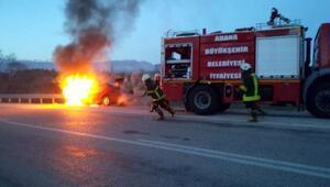 Seyir halindeki otomobil, alev alev yandı