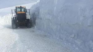 Başkalede kar kalınlığı, iş makinesinin boyunu aştı