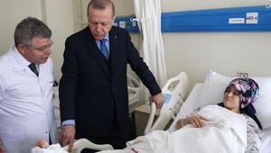 Cumhurbaşkanı Erdoğan, bina çökmesi sonucu yaralananları ziyaret etti