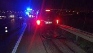 TIRa çarpan aracın sürücüsü yaralandı
