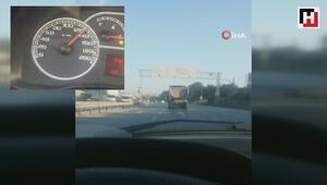 Hafriyat kamyonundan 130 kilometrelik hızı yürekleri ağza getirdi