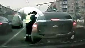 Acemi sürücü polise zor anlar yaşattı