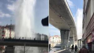 İstanbulda boru patladı Sular 30 metreye fışkırdı