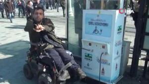Taksim'de engellilerin kullandığı şarj istasyonunun soketini ikinci kez çaldılar