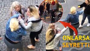 Kızlar cadde ortasında birbirine girdi