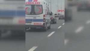 Magandanın ambulansa yol vermeme çabası kamerada