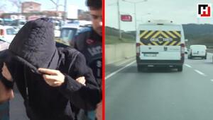 Okul servisiyle makas atan sürücü yakalandı