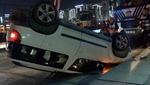 Takla atan otomobil ters döndü; araç kaldırılırken tehlike atlatıldı
