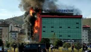 Son dakika... Trabzonda üniversite kampüsünde yangın