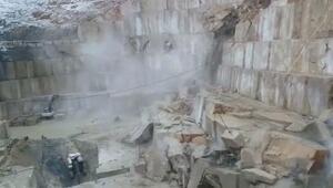 Mermer madeninde göçük anbean kameralara böyle yansıdı