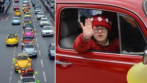 Down sendromlu çocuklar klasik otomobille tur attı