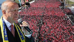 Cumhurbaşkanı Erdoğan mitinge 450 bin kişinin katıldığını duyurdu