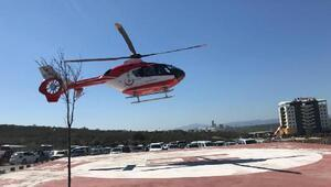 Soma Devlet Hastanesi helikopter pistinden ilk hasta sevki