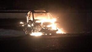 Otomobil, alev alev yandı