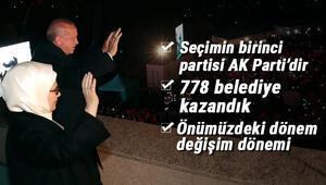Son dakika... Cumhurbaşkanı Erdoğandan balkon mesajı: Seçimin birinci partisi AK Parti, diğerleri düşünsün