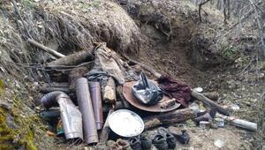 Karakoçanda PKKlı teröristlere ait malzemeler ele geçti