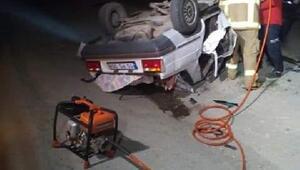 Balıkesirde otomobil takla attı, sürücü öldü