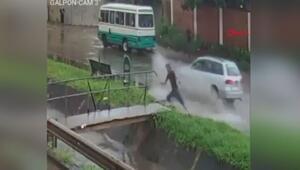 Yağmurdan kaçarken, su kanalına düştü