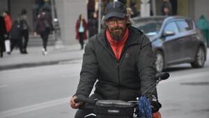 Bisikletle dünyayı gezen Fransız, Malatyada mola verdi