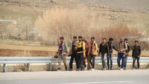Vanda yol üstünde yürüyen 60 kaçak, yakalandı