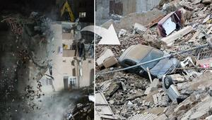 Kağıthanede 5 katlı binanın yıkım çalışması sona erdi