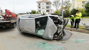 Ağaca çarpıp, takla atan otomobilin sürücüsü yaralandı