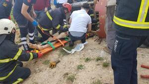 Kullandığı forktliftin altında kalan işçi yaralandı