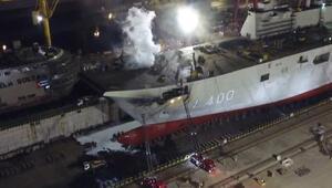 Tuzlada özel bir tersanedeki gemide yangın çıktı